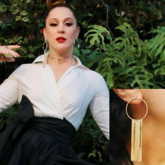 Brinco de Franja Da Claudia Raia Folheado em Ouro 18k
