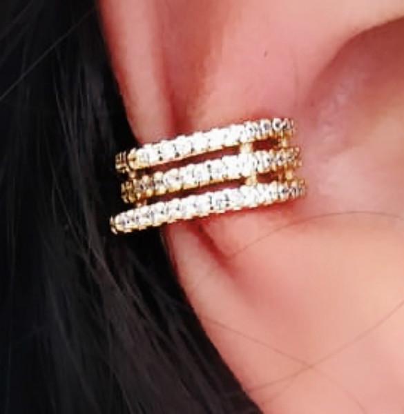 Piercings De Pressão Para Orelha Cartilagem Folheado Em Ouro 18k