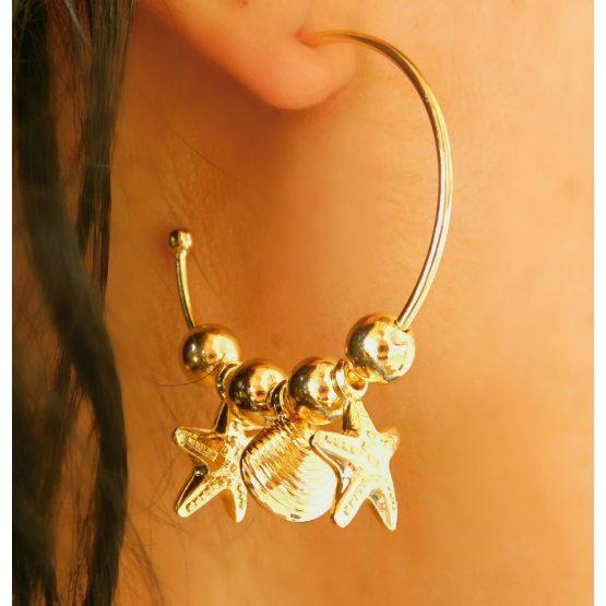 Brinco de Argola com Concha e Estrela do Mar Folheado em Ouro 18k