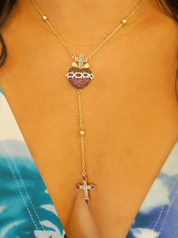colar terço feminino folheado a ouro