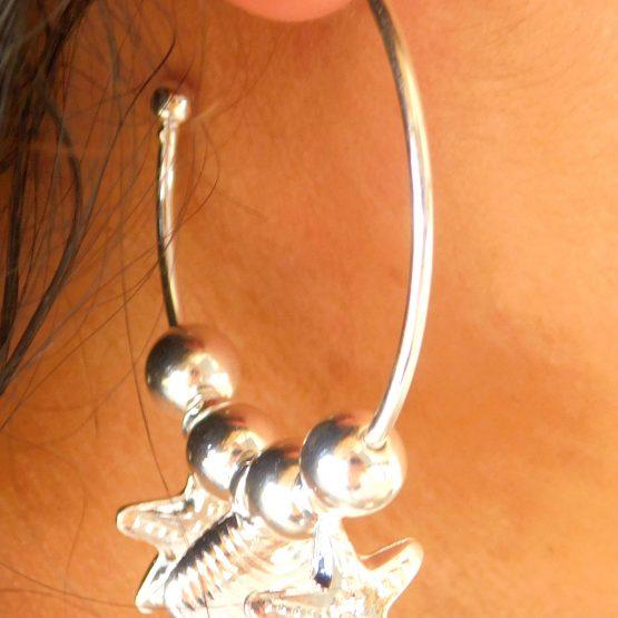 Brinco de Argola com Concha e Estrela do Mar Folheado em Prata