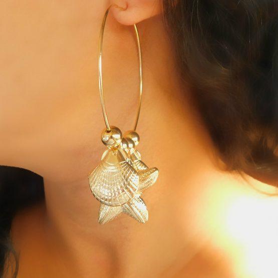Brinco de Argola com Pingentes de Concha, Estrela do Mar Folheado em Ouro 18k
