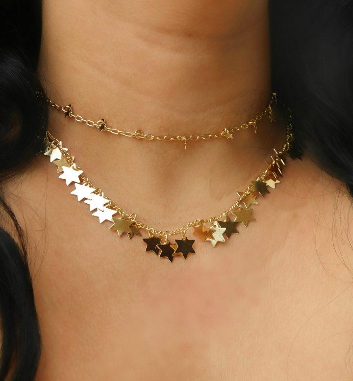 Colar Com Pingentes de Estrelas Folheado em Ouro 18k malaquita joias