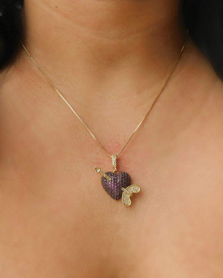 Colar com Pingente de Coração Cupido Folheado em Ouro 18k malaquita joias