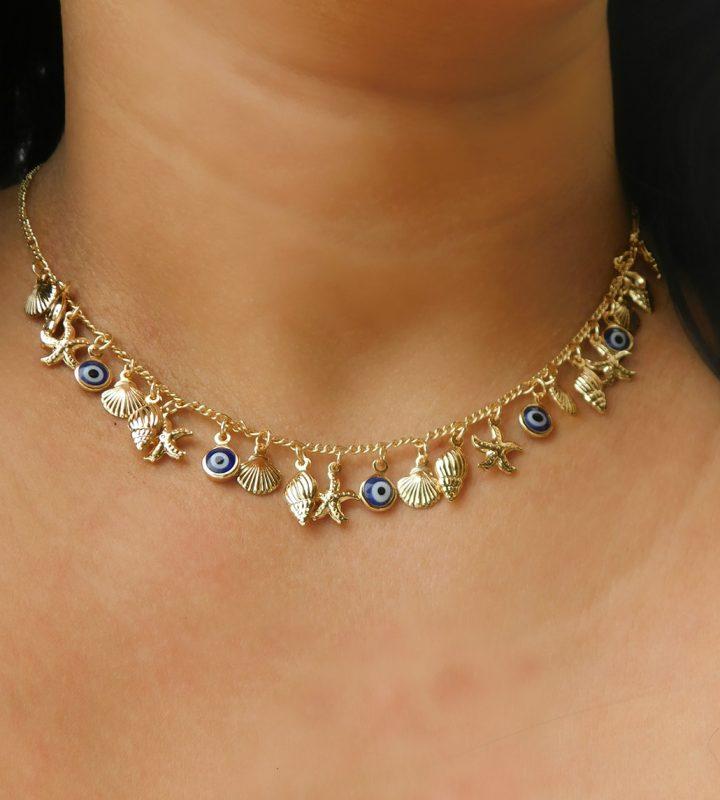 Colar com Pingente de Olho Grego,Concha,Búzios,Estrela do Mar Folheado em Ouro 18k malaquita joias 1