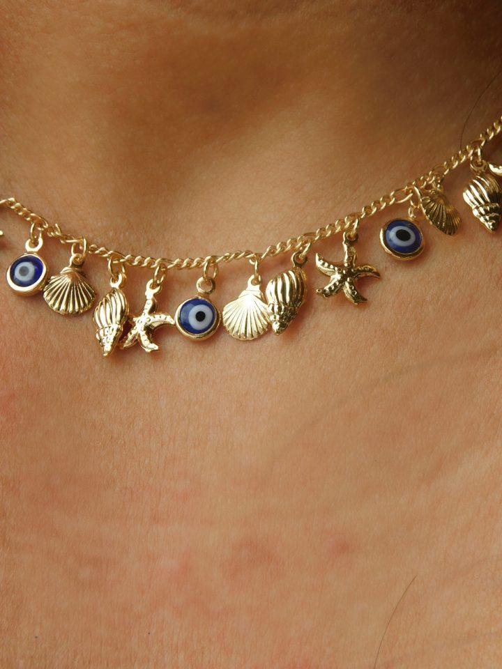 Colar com Pingente de Olho Grego,Concha,Búzios,Estrela do Mar Folheado em Ouro 18k malaquita joias 2