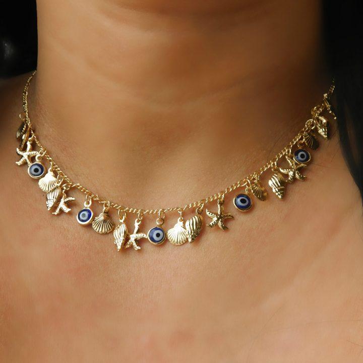 Colar com Pingente de Olho Grego,Concha,Búzios,Estrela do Mar Folheado em Ouro 18k malaquita joias 3