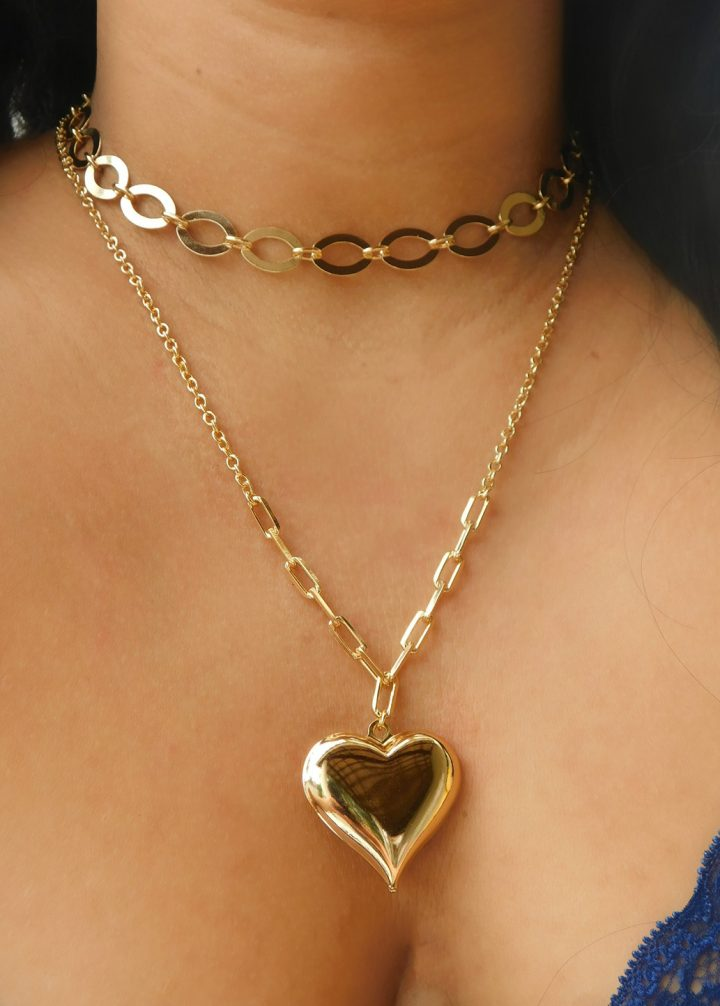 Colar de Coração Maria da Paz Folheado em Ouro 18k malaquita joias